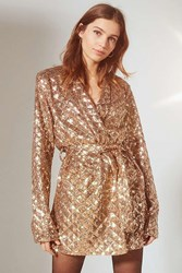 Urban Outfitters Uo Party Time Sequin Belted Blazer Gold