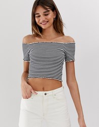 Monki Off Shoulder Cropped T Shirt In Black And White Stripe Multi