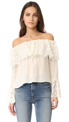 Rachel Zoe Lace Off Shoulder Top Ecru