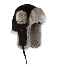 Neiman Marcus Fur Trim Trapper Hat Black Grey
