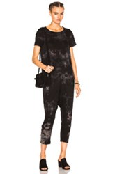 Raquel Allegra Short Sleeve Romper In Black Ombre And Tie Dye Black Ombre And Tie Dye