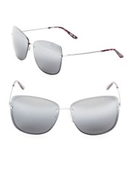 Brian Atwood 63Mm Square Sunglasses Silver