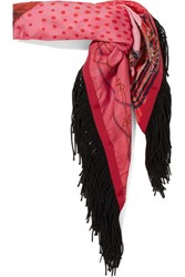 Sacai Fringed Printed Satin Scarf Red