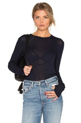 Enza Costa Loose Long Sleeve Crew Neck Top Navy
