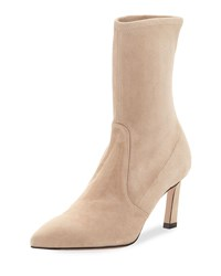 Stuart Weitzman Rapture 75Mm Suede Sock Bootie Brownstone