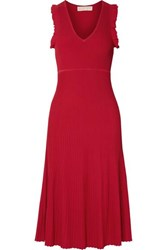 Michael Michael Kors Ruffled Ribbed Knit Midi Dress Red