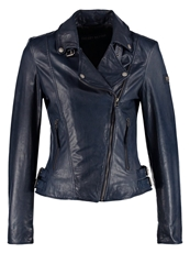 Freaky Nation Leather Jacket Navy Dark Blue