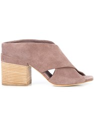 Officine Creative Block Heel Mules Pink And Purple