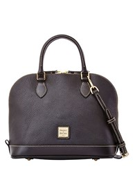 Dooney And Bourke Zip Zip Pebbled Leather Satchel Solid Black