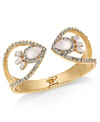 Inc International Concepts I.N.C Gold Tone Stone And Pave Hinge Cuff Bracelet Gold Cryst