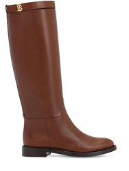 Burberry 30Mm Redgrave Leather Tall Boots Tan