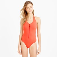 J.Crew Long Torso Zip Front Halter One Piece Swimsuit In Italian Matte