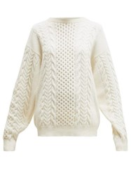 Ann Demeulemeester Canber Cable Knitted Wool Sweater Cream