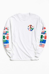 Urban Outfitters Peace Flags Long Sleeve Tee White