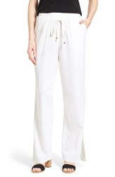 Women's Bobeau Wide Leg Linen Blend Pants White