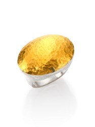Gurhan Curve 24K Yellow Gold And Sterling Silver Jordan Oval Dome Ring Silver Gold