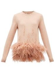 N 21 No. Ostrich Feather Embellished Virgin Wool Sweater Light Pink