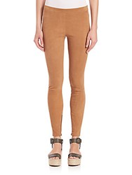 Vince Stretch Suede Ankle Zip Leggings Khaki