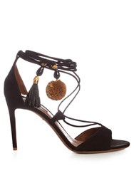 Dolce And Gabbana Pompom Tassel Suede Sandals Black Brown