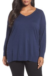 Sejour Plus Size Women's Rib Detail V Neck Pullover Navy Stripe