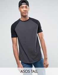Asos Tall Longline T Shirt With Contrast Raglan Sleeves And Curved Hem In Grey Black Olive Black White