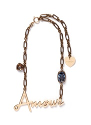 Lanvin 'Amour' Crystal Brass Necklace Metallic