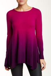 Sofia Cashmere Jewel Neck Ombre Cashmere Sweater Purple