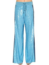 Alberta Ferretti Two Tone Sequined Track Pants Light Blue