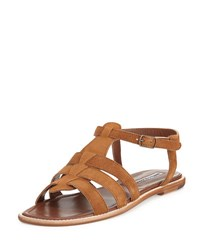 Manolo Blahnik Canale Suede Flat Cage Sandal Brown