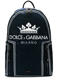 Dolce And Gabbana Crown Logo Print Backpack Blue