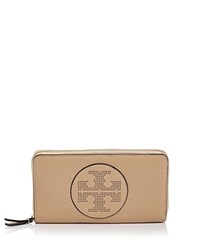 Tory Burch Perforated Logo Zip Leather Continental Wallet Sand Dune Gold