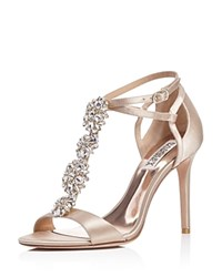 Badgley Mischka Leigh Embellished T Strap High Heel Sandals Latte