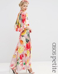 Asos Petite Wedding Printed Pleated Maxi With Drape Back And Cape Sleeve Mink Multi