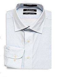 Saks Fifth Avenue Black Slim Fit Button Down Dress Shirt Light Blue