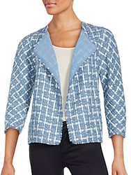 Lafayette 148 New York Venus Tweed Mohair Blend Topper Jacket Coastal Blue