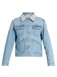 Etoile Isabel Marant Christa Embellished Collar Denim Jacket Light Denim