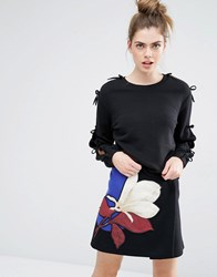 Sportmax Code Zeda Sweatshirt With Open Sleeve Bow Deatil Black