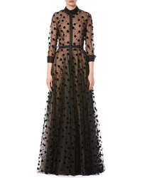 Carolina Herrera Illusion Polka Dot Tulle Trench Gown Black
