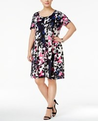 Ny Collection Plus Size Printed Fit And Flare Dress Fuchsia Clarify