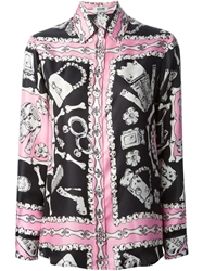 Moschino Cheap And Chic Bone Print Shirt Pink And Purple