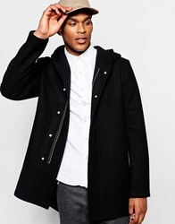 Asos Hooded Wool Rich Coat In Black