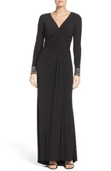 Vince Camuto Women's Embellished Sleeve Jersey Gown