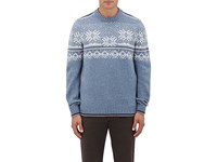 Fioroni Men's Fair Isle Cashmere Sweater Light Blue