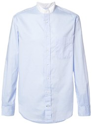 Gitman Brothers Vintage Banded Collar Shirt Blue