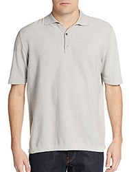 Saks Fifth Avenue Memphis Cotton Pique Polo Shirt Light Grey