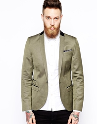 Noose And Monkey Skinny Fit Blazer Gold