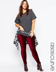 Asos Curve Stretch Cord Tregging Oxblood