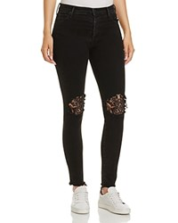 Mother Super Stunner Lace Inset Ankle Jeans In Black Sheep Baa Baa Black Sheep