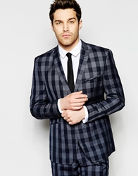 Vito Jersey Suit Jacket In Skinny Fit Blue