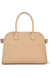 The Row Margaux 10 Buckled Textured Leather Tote Beige